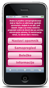 Telefon z aplikacijo Breast test